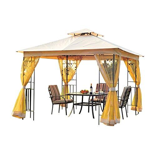 Outsunny® Luxus Pavillon Gartenpavillon Partyzelt Festzelt Gartenzelt Pagode 3x3 m