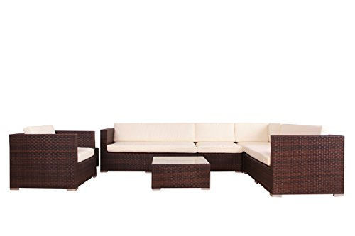 poly rattan azur lounge gartenset sofa garnitur polyrattan gartenm bel alu rahmen braun. Black Bedroom Furniture Sets. Home Design Ideas