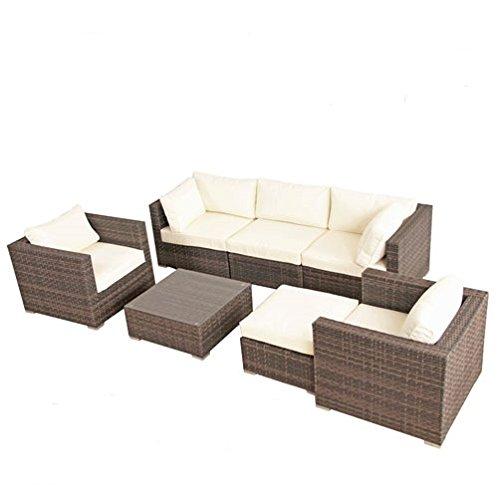 poly rattan aluminium lounge gartenset braun sofa garnitur polyrattan gartenm bel kein bausatz. Black Bedroom Furniture Sets. Home Design Ideas