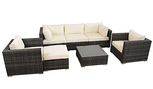 poly rattan aluminium lounge gartenset schwarz sofa garnitur polyrattan gartenm bel kein bausatz. Black Bedroom Furniture Sets. Home Design Ideas