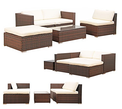 Svita california poly rattan lounge gartenset sofa set - Gartenset rattan ...