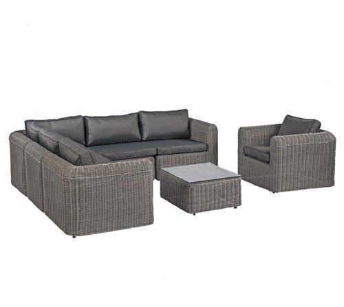 POLY RATTAN Lounge Gartenset Sofa Garnitur Polyrattan Gartenmöbel (XXL, Grau)