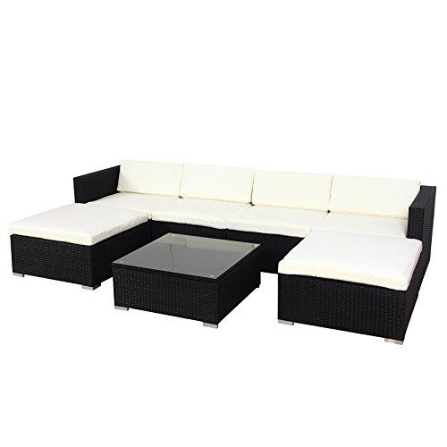 SVITA Lugano Poly Rattan Lounge Garten-Set XXL Sofa-Set Garnitur Gartenmöbel Couch-Set (XXL, Schwarz)