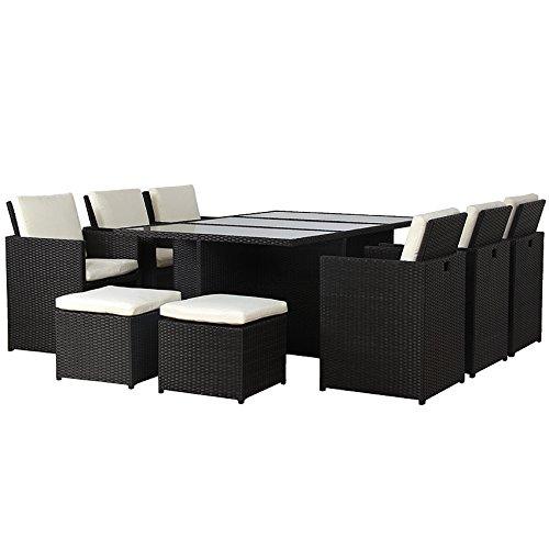 POLY RATTAN Lounge Gartenset Schwarz Garnitur Polyrattan ALU - Kein Bausatz
