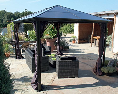 pavillon gartenpavillon luxuspavillon nabucco aus alu 3 x 4 m taupe dach polycarbonatplatten. Black Bedroom Furniture Sets. Home Design Ideas