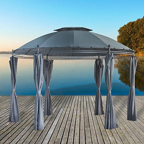 Pavillon - Gartenpavillon - Partypavillon 3,5 Meter rund aus pulverbeschichtetem Metall mit wasserdichtem Dach