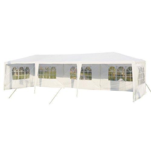 Pavillon Partyzelt Gartenzelt 3 x 9m Hochzeit Festzelt Bierzelt Gartenpavillon XXXL (Weiß)
