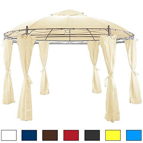 Pavillon beige 350 cm - Gartenzelt Gartenlaube Zelt