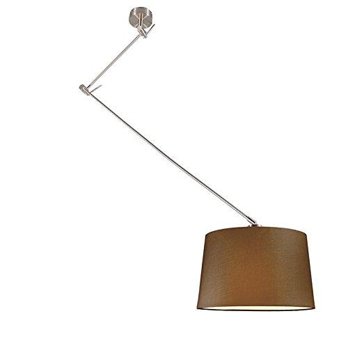 QAZQA Design / Modern / Pendelleuchte / Pendellampe / Hängelampe / Lampe / Leuchte Blitz Stahl / Silber / nickel matt mit Schrim 40cm braun Höhenverstellbar / Innenbeleuchtung / Wohnzimmer / Schlafzim