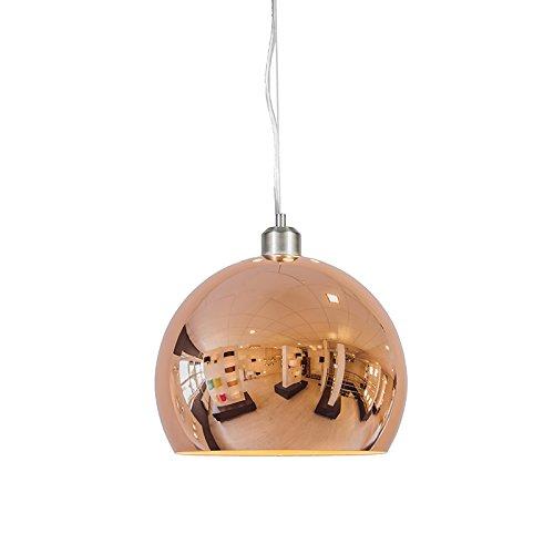QAZQA Modern / Retro / Pendelleuchte / Pendellampe / Hängelampe / Lampe / Leuchte Globe 28cm Kupfer / Innenbeleuchtung / Wohnzimmer / Schlafzimmer / Küche Metall Kugel / Kugelförmig LED geeignet E27 M