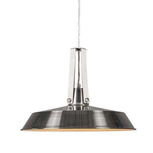 QAZQA Industrie / Industrial / Modern / Retro / Esstisch / Esszimmer / Pendelleuchte / Pendellampe / Hängelampe / Lampe / Leuchte Living 40cm Stahl / Silber / nickel matt / Innenbeleuchtung / Wohnzimm