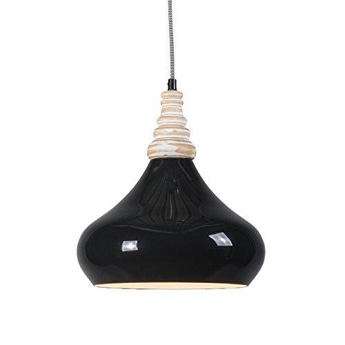 QAZQA Design/Modern / Pendelleuchte/Pendellampe / Hängelampe/Lampe / Leuchte Maple schwarz/Innenbeleuchtung / Wohnzimmer/Schlafzimmer / Küche Aluminium/Holz / Rund LED geeignet E27 Max. 1