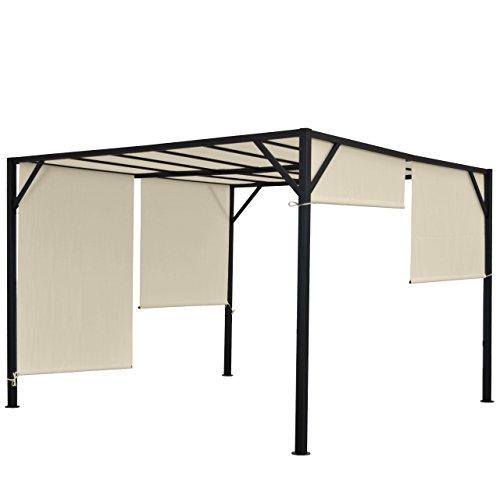 Mendler Pergola Baia, Garten Pavillon Terrassenüberdachung, stabiles 6cm-Stahl-Gestell + Schiebedach ~ 3x3m