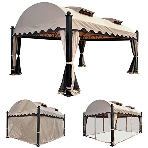 mendler pergola daroca garten pavillon 10cm luxus alu gestell mit seitenwand moskitonetz 4. Black Bedroom Furniture Sets. Home Design Ideas