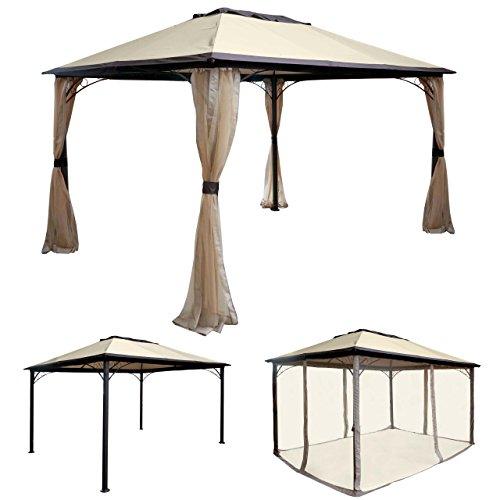 Mendler Pergola HWC-C44, Garten Pavillon, stabiles 7cm Alu-Gestell mit Moskitonetz, 4x3m