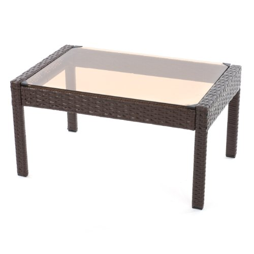 mendler poly rattan beistelltisch kaffeetisch gartentisch sanremo mit glasplatte 43x80x51cm. Black Bedroom Furniture Sets. Home Design Ideas