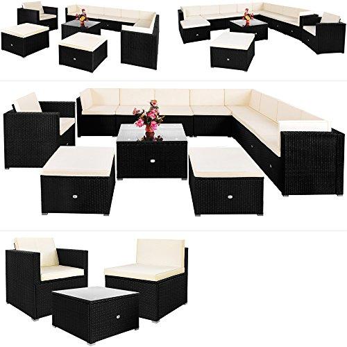 deuba luxus poly rattan lounge set xxxl schwarz exklusive 35 tlg sitzgruppe 7cm dicke. Black Bedroom Furniture Sets. Home Design Ideas