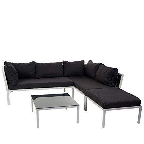 Mendler Poly-Rattan Sofa-Garnitur Delphi, Sitzgruppe Lounge-Set, Alu ~ Set 1, Kissen Anthrazit