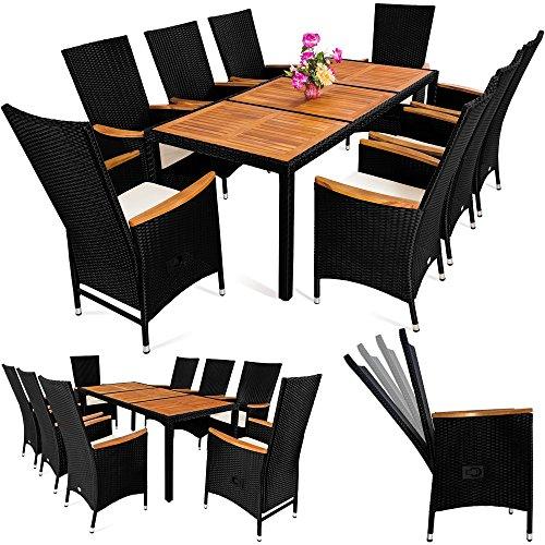 deuba poly rattan sitzgruppe 8 1 schwarz 7 cm dicke sitzauflagen tisch armlehnen aus. Black Bedroom Furniture Sets. Home Design Ideas