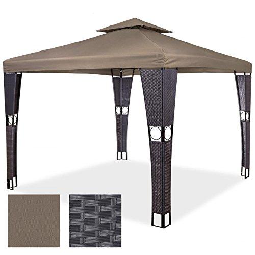 polyrattan pavillon gartenm bel sonnenschutz partyzelt gartenzelt 3 x 4 m taupe m bel24. Black Bedroom Furniture Sets. Home Design Ideas