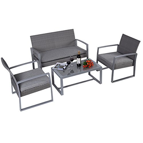 rattan set 4tlg mit glastisch wei garnitur sitzgruppe gartenm bel poly rattan 4 teilig 4 sitzer. Black Bedroom Furniture Sets. Home Design Ideas