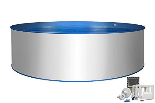 Stahlwand Pool Ø 3,00m Tiefe 1,20m, Stahlmantel & Innenfolie 0,6mm mit Einbauskimmer