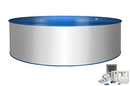 Pool Basic Rundform Ø 6,00m x 1,20m Innenhülle 0,8mm & 0,6mm Stahlmantel mit Skimmer-Set und Einströmdüse