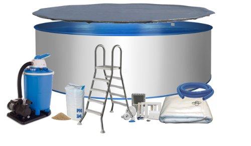 Pool-Set Ø 3,50m Tiefe 1,20m, Stahlmantel & Innenfolie mit Keilbiese 0,6mm, Sandfilteranlage mit 6-Wege-Ventil, Sicherheitsleiter, Skimmer, Bodenvlies und Abdeckung