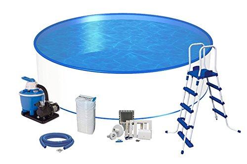 Pool Komfort Rundform Ø 4,00m x 1,20m 0,6mm Folie & 0,6mm Stahlmantel mit Sandfilter Flow 5 mit 5,5m³/h NEU: Sicherheitsleiter mit abnehmbaren Stufen Schlauch-Set Skimmer-Set und Einströmdüse