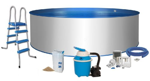 Pool Komfort Rundform Ø 5m x 1,2m Stahlwand 0,6mm Folie blau 0,8mm Keilbiese Stahlleiter 2 x 3 Stufen mit Plattform Sandfilteranlage Flow 4 mit 4,0m³/h Quarzfiltersand 25 KG 0,7 bis 1,2 Körnung Schlauchanschluss Set mit Schlauchschellen