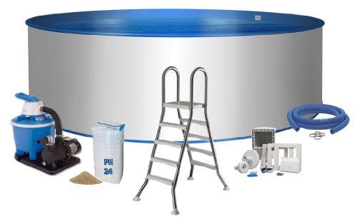 Pool Premium Rundform Ø 5m x 1,2m Stahlwand 0,6mm Folie blau 0,8mm Keilbiese Edelstahlleiter 2 x 4 Stufen mit Plattform Sandfilteranlage Flow 5 mit 5,5m³/h Quarzfiltersand 25 KG 0,7 bis 1,2 Körnung Schlauchanschluss Set mit Schlauchschellen