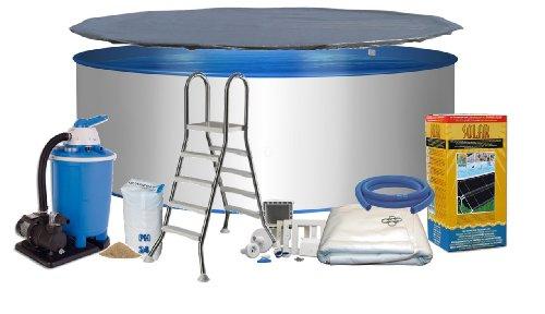 Pool Royal Rundform Ø 3,50m x 1,20m Stahlwand 0,6mm, Folie blau 0,6mm mit Keilbiese Bodenschutzvlies Abdeckplane Eco-Solar System Edelstahlleiter 2 x 4 Stufen mit Plattform (Variante wählbar) Sandfilteranlage Flow 7 mit 7,0m³/h Quarzfiltersand 25 KG Skimmer- und Schlauchanschluß-Set