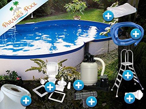 Pool Set Komfort 3,00x4,70x1,20m achtform Becken Komplettset Aufstellbecken