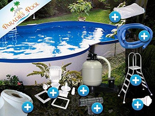 Pool Set Komfort 3,20x5,25x1,20m achtform Becken Komplettset Aufstellbecken