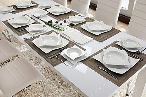 Premium 28-Teilig Tafelservice Porzellan Set Service für 6 Personen Geschirr in weiß