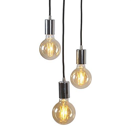 QAZQA Design/Modern / Pendelleuchte/Pendellampe / Hängelampe/Lampe / Leuchte Facil 3-flammig Chrom/Innenbeleuchtung / Wohnzimmer/Schlafzimmer / Küche Metall Zylinder LED geeignet E27 Max. 3