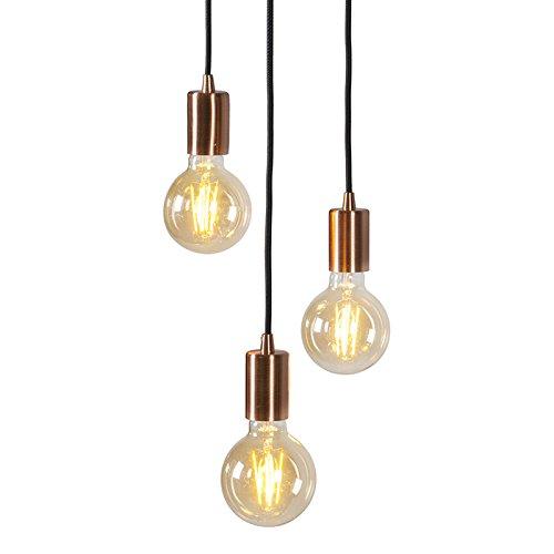 QAZQA Design / Modern / Pendelleuchte / Pendellampe / Hängelampe / Lampe / Leuchte Facil 3-flammig Kupfer / Innenbeleuchtung / Wohnzimmer / Schlafzimmer / Küche Metall Zylinder LED geeignet E27 Max. 3