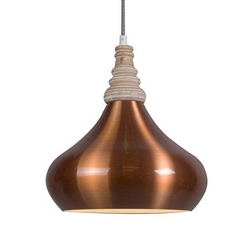 QAZQA Design / Modern / Pendelleuchte / Pendellampe / Hängelampe / Lampe / Leuchte Maple kupfer / Innenbeleuchtung / Wohnzimmer / Schlafzimmer / Küche Aluminium / Holz / Rund LED geeignet E27 Max. 1 x