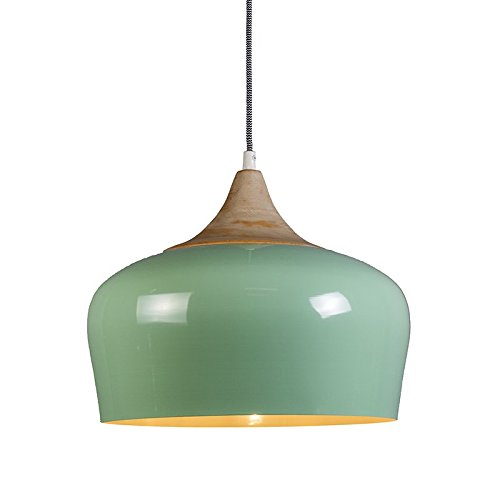 QAZQA Design / Modern / Pendelleuchte / Pendellampe / Hängelampe / Lampe / Leuchte Pine hellgrün / Innenbeleuchtung / Wohnzimmer / Schlafzimmer / Küche Aluminium / Holz / Rund LED geeignet E27 Max. 1