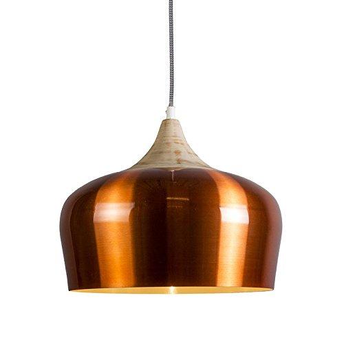 QAZQA Design / Modern / Pendelleuchte / Pendellampe / Hängelampe / Lampe / Leuchte Pine kupfer / Innenbeleuchtung / Wohnzimmer / Schlafzimmer / Küche Aluminium / Holz / Rund LED geeignet E27 Max. 1 x