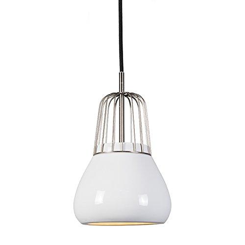 QAZQA Design / Retro / Pendelleuchte / Pendellampe / Hängelampe / Lampe / Leuchte Porcelana 1 Stahl / Silber / nickel matt / Innenbeleuchtung / Wohnzimmer / Schlafzimmer / Küche Metall / / Rund LED g