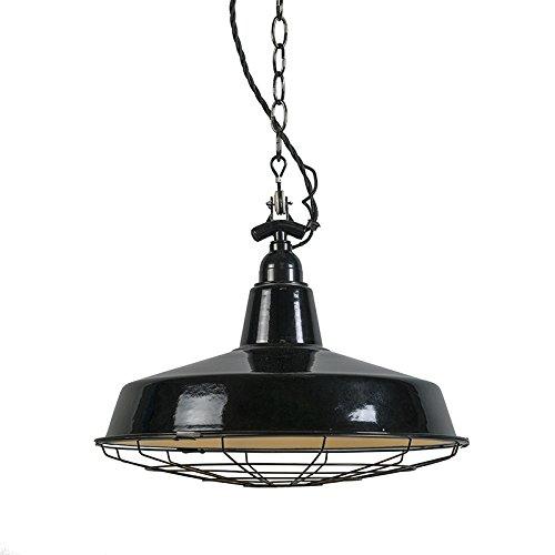 QAZQA Industrie / Industrial / Retro / Esstisch / Esszimmer / Pendelleuchte / Pendellampe / Hängelampe / Lampe / Leuchte Loek schwarz / Innenbeleuchtung / Wohnzimmer / Schlafzimmer / Küche Metall Rund