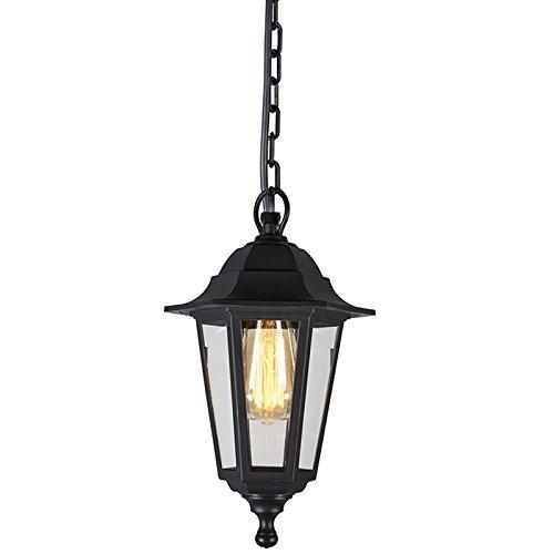 QAZQA Klassisch / Antik / Landhaus / Vintage / Rustikal / Pendelleuchte / Pendellampe / Hängelampe / Lampe / Leuchte New Haven schwarz / Außenbeleuchtung Glas / Kunststoff / Andere LED geeignet E27 Ma