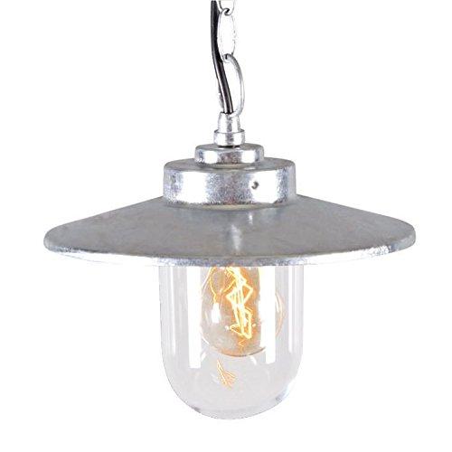 QAZQA Modern Pendelleuchte/Pendellampe / Hängelampe/Lampe / Leuchte Aachen Zink/Außenbeleuchtung / Küche Glas / / Rund LED geeignet E27 Max. 1 x 60 Watt