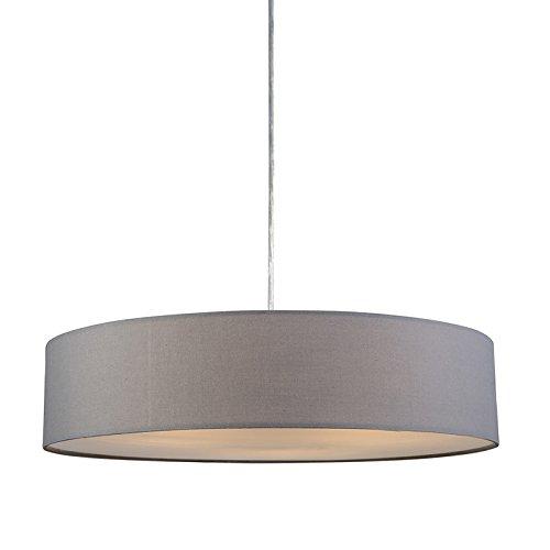 QAZQA Modern Esstisch / Esszimmer / Pendelleuchte / Pendellampe / Hängelampe / Lampe / Leuchte Drum mit Schirm 50 grau/ 3-flammig / Innenbeleuchtung / Wohnzimmer / Schlafzimmer / Küche Kunststoff / Me