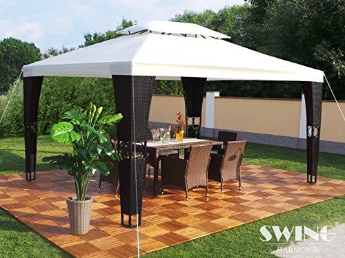Rattan Pavillon 3x4m Polyrattan Garten Pavilon Gartenmöbel Pavillion Partyzelt (schwarz/creme)