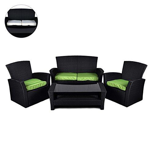 Nexos Rattan Set 4tlg mit Glastisch grün Garnitur Gartenmöbel Sitzgruppe Poly Rattan inkl. Höhenverstellbare Füße und Sicherheitsglas 4-Sitzer 4-teilig