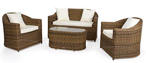 Rattan4Life 4-teilig Venedig Deluxe Polyrattan Gartenmöbel Set, Sofa / Lounge / Gartengarnitur / Kissenbezug, hellbraun / beige