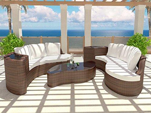 Rattaninsel Lounge LYDIA braun aus Polyrattan Sonnenliege im geschwungenem Design günstig