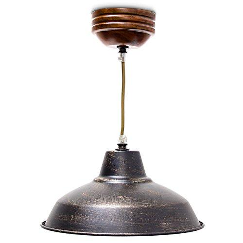 Relaxdays Industrie Deckenlampe/Deckenleuchte schwarz – Fabrik-Lampe Industrielampe im Vintage Retro Look fürs Loft – Messing-Lampe & Holz, Fassung E 27, höhenverstellbar